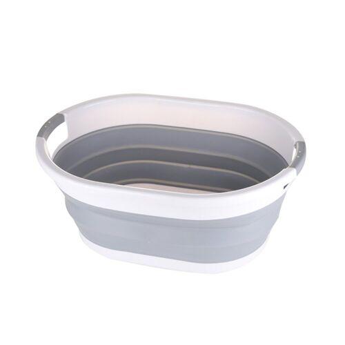 SOSmart24 Wäschekorb »SO SMART Faltbarer Wäschekorb rund aus Plastik - Weiß Grau - 30 L Volumen - Wäschesammler faltbar klappbar Aufbewahrungsbox Camping Laundry basket Plastikwanne Waschkorb groß klein tragbar«