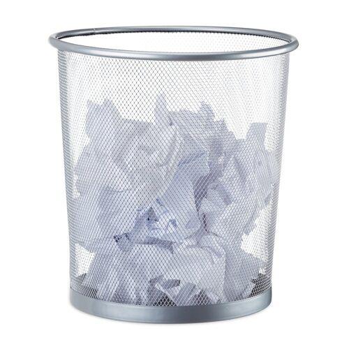 relaxdays Papierkorb »Papierkorb rund Drahtgeflecht«, Silber