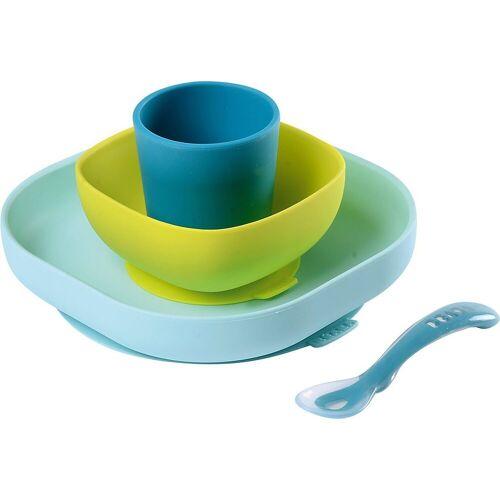 BÉABA Kindergeschirr-Set »Geschirrset aus Silikon, 4-tlg., gelb«, blau