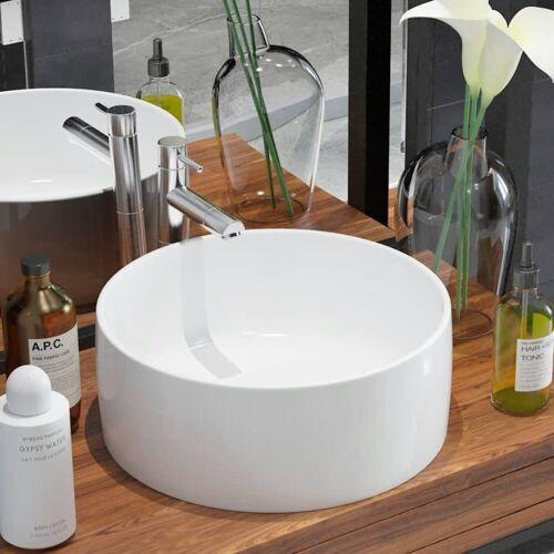 vidaXL Waschbecken »Waschbecken Rund Keramik Weiß 40 x 15 cm«