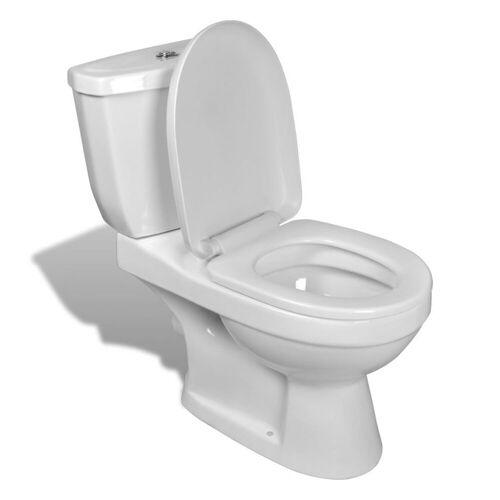 vidaXL Bidet »Toilette mit Spülkasten Weiß und Schwarz«, Weiß