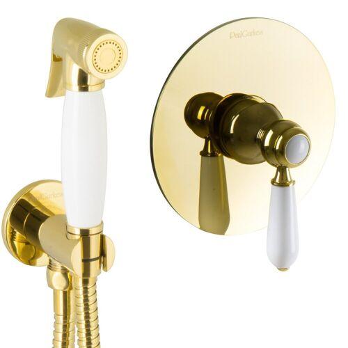 PaulGurkes Bidetarmatur »PGSETBIDET-ZR« Bidet Unterputz Gold Hygienedusche Intimdusche Set Spraybrause