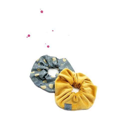 Wishproject® Spiral-Haargummi »Scrunchie Set Zitronenlimo«, Hochwertig Scrunchie Set, 2 Stück langlebig und für immer stilvoll, Hergestellt in Deutschland, Ohne Metall Angenehmer Tragekomfort