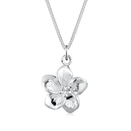 Elli Kette mit Anhänger »Frangipani Blüte Kristalle 925 Silber«, Frangipani Blüte