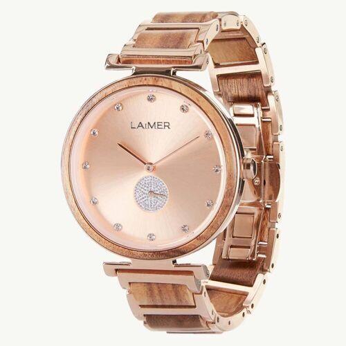 LAiMER Quarzuhr »0153 Mia«, Damen Akazien-Holz Armbanduhr Rosé mit Swarovski Kristallen