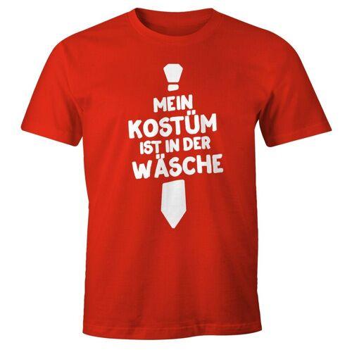 MoonWorks Print-Shirt »Herren T-Shirt Mein Kostüm ist in der Wäsche Fasching Faschings-Shirt Fun-Shirt ®« mit Print, rot 3XL;4XL;L;M;S;XL;XS;XXL
