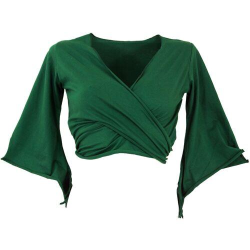 Guru-Shop T-Shirt »Elfen Top, Top Goa-chic, Wickeltop - smaragdgrün«, smaragdgrün M/L;S/M