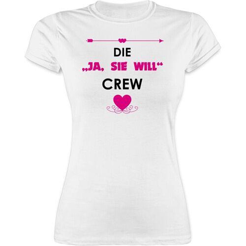 """Shirtracer T-Shirt »Die """"Ja, sie will"""" Crew - JGA Junggesellenabschied Frauen - Damen Premium T-Shirt« Junggesellinnenabschied Damen, 1 Weiß L;M;S;XL;XXL"""