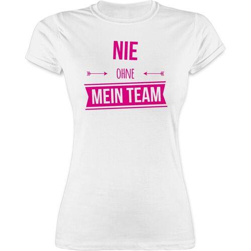 Shirtracer T-Shirt »Nie ohne mein Team Pink - JGA Junggesellenabschied Frauen - Damen Premium T-Shirt« Junggesellinnenabschied Damen, 2 Weiß L;M;S;XL;XXL