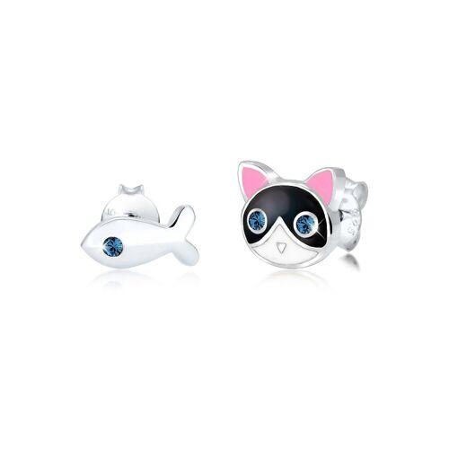 Elli Paar Ohrstecker »Kinder Katze Fisch Kristalle 925 Silber«, Katze