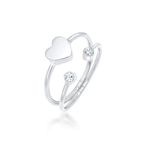 Elli Ring-Set »Herz Liebe Kristall (2 tlg) 925 Silber«, Kristall Ring, Silber 52;54;56;58