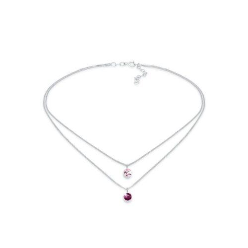 Elli Kette mit Anhänger »Choker Layer Kristalle Rund 925 Silber«, Kristall Kette, Pink