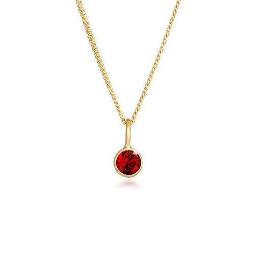 Elli Kette mit Anhänger »Solitär Rund Kristall Rot 925 Silber«, Kristall Kette, Gold