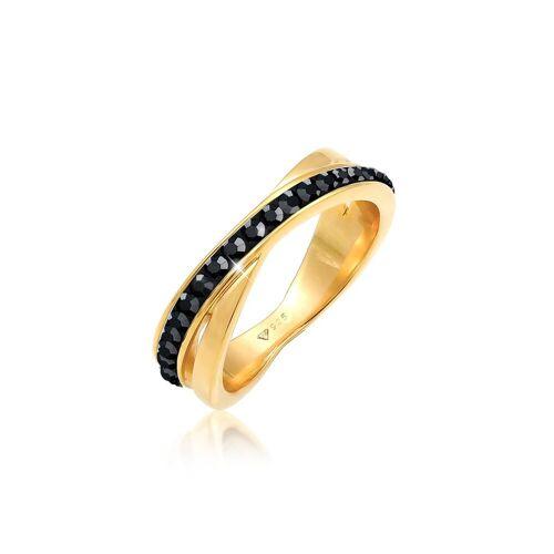 Elli Fingerring »Wickelring Zart Kristalle 925 Silber«, Kristall Ring, Schwarz 52;54;56;58;60;62;64