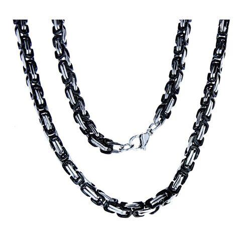 Kiss of Leather Königskette »edle Edelstahl Königskette schwarz - silbern, 4,5mm dick, 55 60 70 cm lang, Kette« 55 cm;60 cm;70 cm;23cm;23cm+55cm;23cm+60cm;23cm+70cm