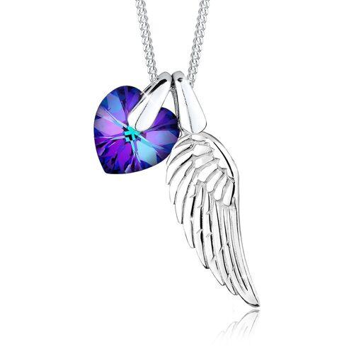 Elli Kette mit Anhänger »Flügel Herz Schutz Kristalle 925 Silber«, Flügel