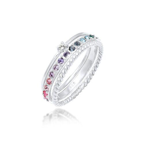 Elli Ring-Set »Kristalle Farbig Regenbogen Set (3 tlg) 925 Silber«, Kristall Ring 52;54;56;58