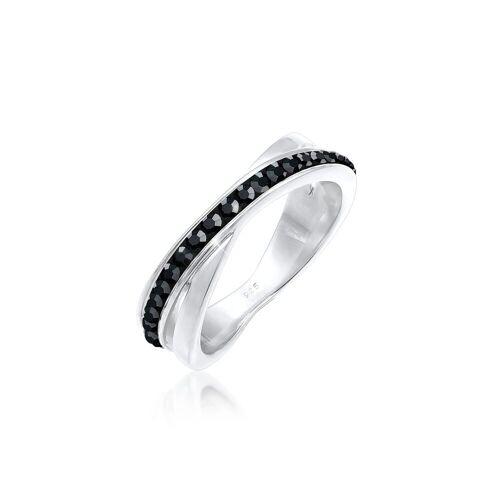 Elli Fingerring »Wickelring Zart Kristalle 925 Silber«, Kristall Ring, Silber 52;54;56;58;60;62;64