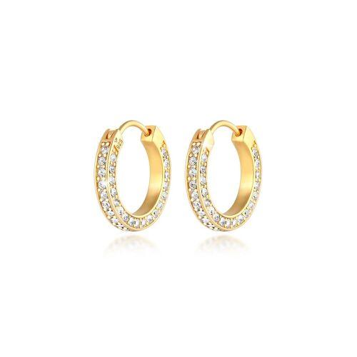 Elli Premium Paar Creolen »Creolen Kristall 925 Silber«, Creole, Gold