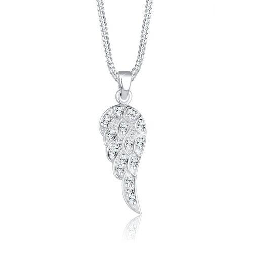 Elli Kette mit Anhänger »Flügel Kristalle 925 Silber«, Flügel, Weiß