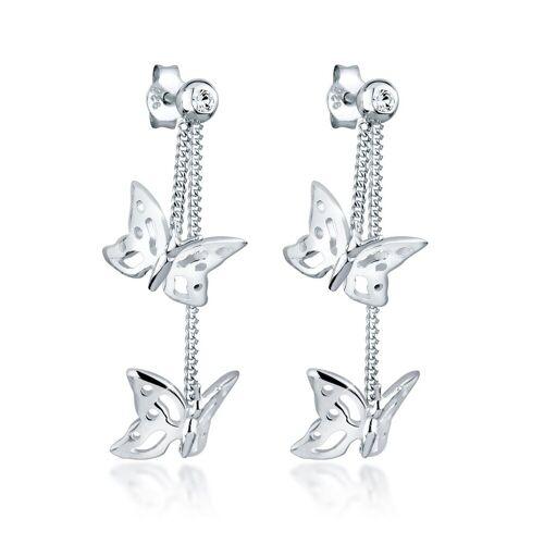 Elli Paar Ohrhänger »Schmetterling Natur Kristalle Silber«, Schmetterling
