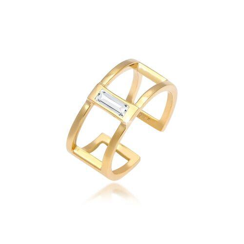 Elli Fingerring »Offen Geo Kristall Rechteck 925 Silber«, Kristall Ring, Gold