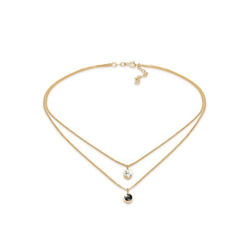 Elli Kette mit Anhänger »Choker Layer Kristalle Rund 925 Silber«, Kristall Kette, Gold