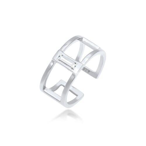 Elli Fingerring »Offen Geo Kristall Rechteck 925 Silber«, Kristall Ring, Silber