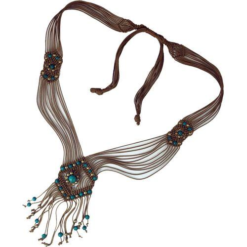 Guru-Shop Perlenkette »Makrameee Kette mit Perle, Boho Makrameee..«