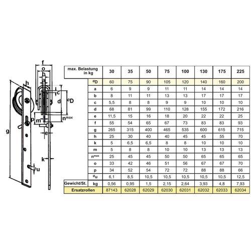 Betz Schiebetür »Rolle Schiebetürrollen 60mm Schiene Schiebetüren Schieberolle« 120 cm;60 cm;75 cm;90 cm