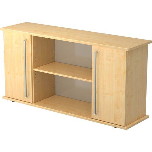 bümö Sideboard »OM-SB2T«, Aktenregal mit Türen, Stauraum für Ordner, Deko & Bücher - Dekor: Ahorn/Ahorn, Ahorn/Ahorn