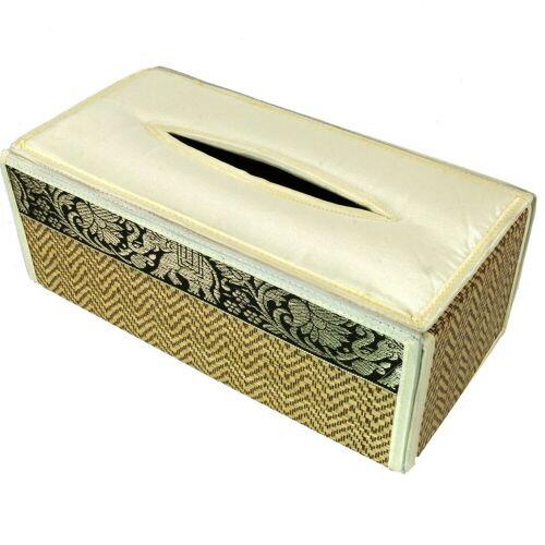 Guru-Shop Aufbewahrungsdose »Kosmetiktücher Servietten Box aus Rattan in..«, creme-braun