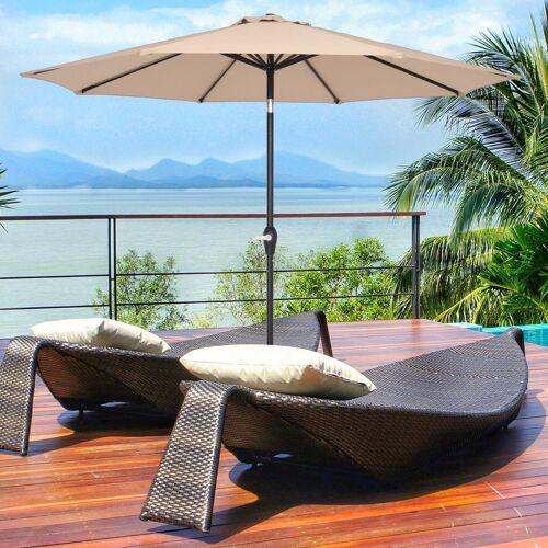 muchen Sonnenschirm »Sonnenschirm 270 cm Kurbelschirm Gartenschirm Terrassenschirm Wasserabweisend UV-Schutz Sonnenschutz Neigbar für Garten, Balkon, Terrasse«, Khaki
