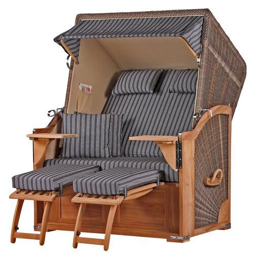 bene living Strandkorb »Schaalsee Teak - PE grau - Modell 500«, BxTxH: 125x80x170 cm, Volllieger ca. 175 Grad, Ostsee-Strandkorb