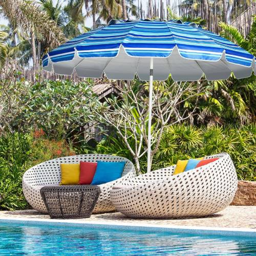 COSTWAY Sonnenschirm »Strandschirm, Marktschirm, Gartenschirm, Terrassenschirm«, mit Verankerung, für Garten, Strand, Outdoor, Marineblau
