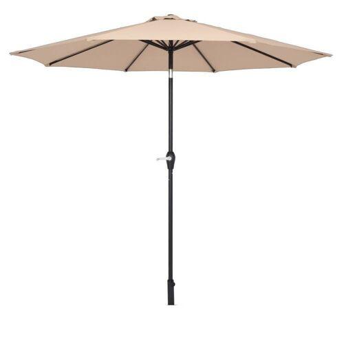 FCH Sonnenschirm, Φ 270cm Sonnenschirm, Kippbarer Gartenschirm, Marktschirm mit Handkurbel, UV-Schutz Terrassenschirm, Taupe
