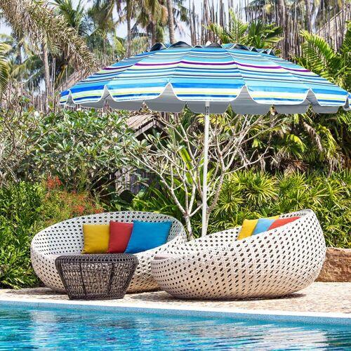 COSTWAY Sonnenschirm »Strandschirm, Marktschirm, Gartenschirm, Terrassenschirm«, mit Verankerung, für Garten, Strand, Outdoor, Hellblau