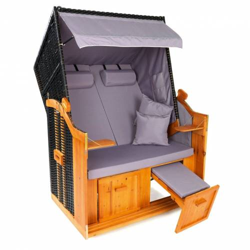 Hoberg Strandkorb »2-Sitzer-Strandkorb (Ostsee) grau/braun ohne Rollen«, BxTxH: 120x80x160 cm
