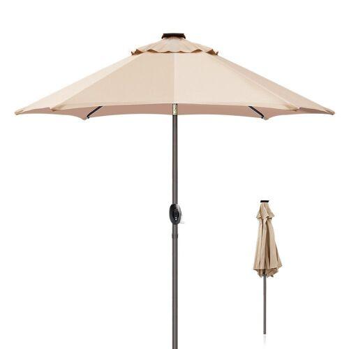 ziigo Sonnenschirm »Ø 270 cm Parasol, Solar LED-Licht Powerbank Kurbe«