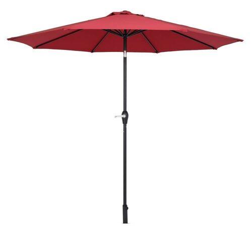 FCH Sonnenschirm, Φ 270cm Sonnenschirm, Kippbarer Gartenschirm, Marktschirm mit Handkurbel, UV-Schutz Terrassenschirm, Wein Rot