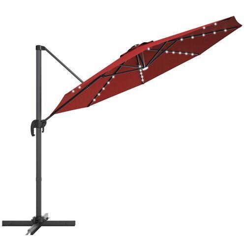 COSTWAY Ampelschirm »LED Sonnenschirm, Gartenschirm, Kurbelschirm«, Ø300 cm, mit Kreuzständer, für Garten, Terrasse, Pool oder Veranda, Rot