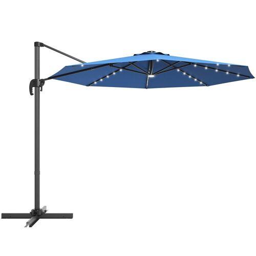 COSTWAY Ampelschirm »LED Sonnenschirm, Gartenschirm, Kurbelschirm«, Ø300 cm, mit Kreuzständer, für Garten, Terrasse, Pool oder Veranda, Blau