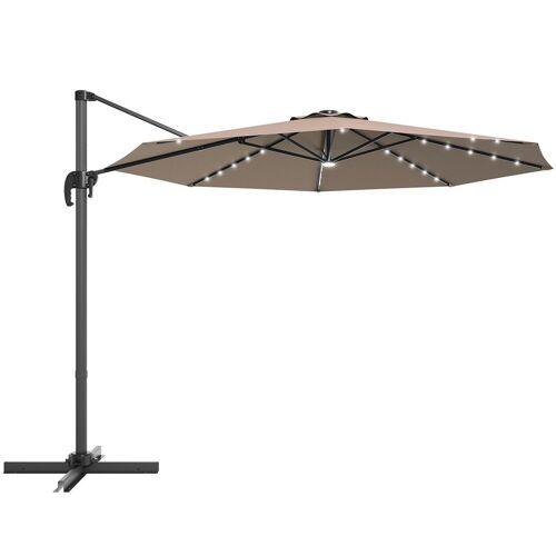 COSTWAY Ampelschirm »LED Sonnenschirm, Gartenschirm, Kurbelschirm«, Ø300 cm, mit Kreuzständer, für Garten, Terrasse, Pool oder Veranda, Braun