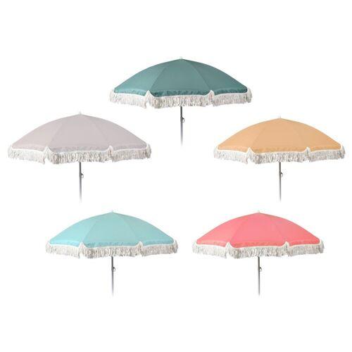 Meinposten Sonnenschirm »Ø 155 cm Strandschirm mit Fransen UV-Schutz 30+ Balkonschirm Schirm«, abknickbar, sonnengelb