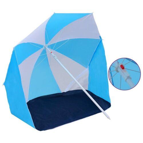 vidaXL Sonnenschirm »Strandschirm-Windschutz Blau und Weiß 180 cm Stoff«