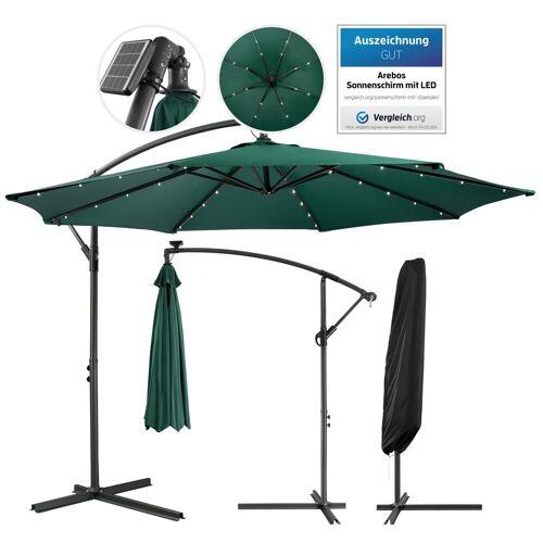 Arebos Sonnenschirm »Luxus Ampelschirm Gartenschirm mit LED Beleuchtung Ø3m Wasserabweisend«, Set, ohne Wegeplatten, grün