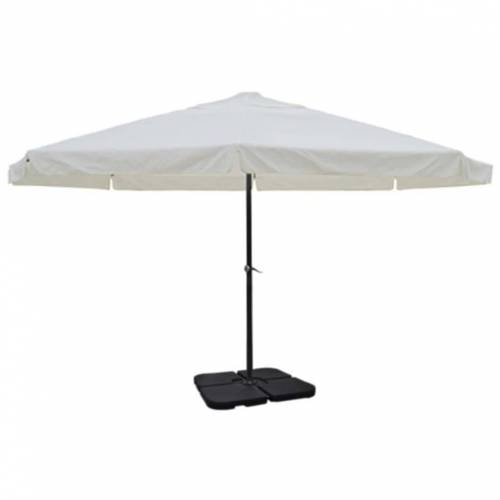 vidaXL Sonnenschirm »Sonnenschirm Weiß und Grün 500 cm Aluminium mit Schirmständer«, Weiß