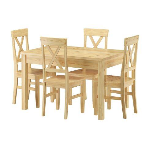 ERST-HOLZ Essgruppe »Sitzgarnitur mit Tisch und 4 Stühle Kiefer Massivholz Vollholzmöbel 90.70-51 C-Set 23«