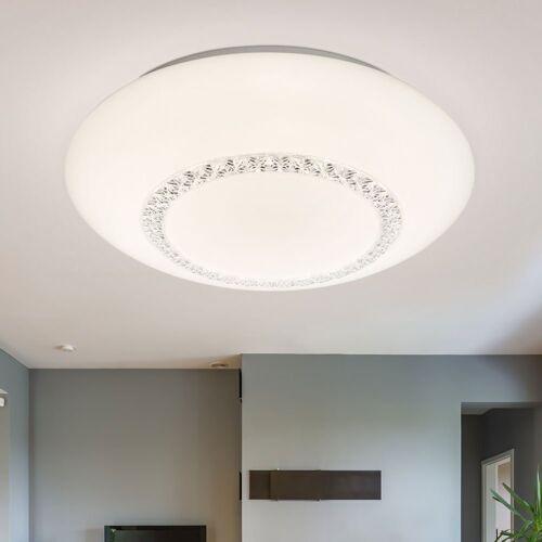 Globo Deckenstrahler, LED Deckenleuchte Kristalle Deckenlampe Modern rund Kristall Deckenleuchte weiß, 1x LED 36 Watt warmweiß, D 41 cm
