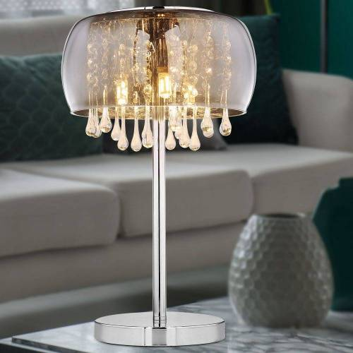 etc-shop Tischleuchte, Tischlampe mit Kristallen Tischleuchte Glas rauch Nachttischlampe Kristall Tischleuchte Vintage Retro, 3x G9, DxH 27x40 cm
